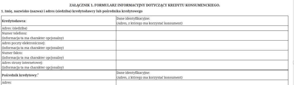 formularz informacyjny
