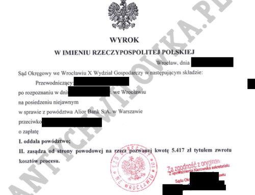 Kredyt dla firmy – Alior Bank przegrywa sprawę o 89 803,86 zł